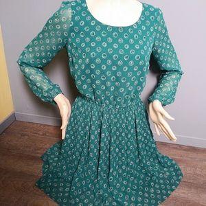 Elle Green Pleated Dress
